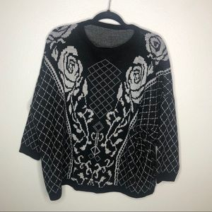 Vintage Black and White Rose Floral Sweater